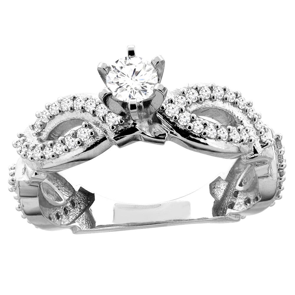 10K Gold 0.55 cttw. Round Diamond Engagement Ring, sizes 5 - 10