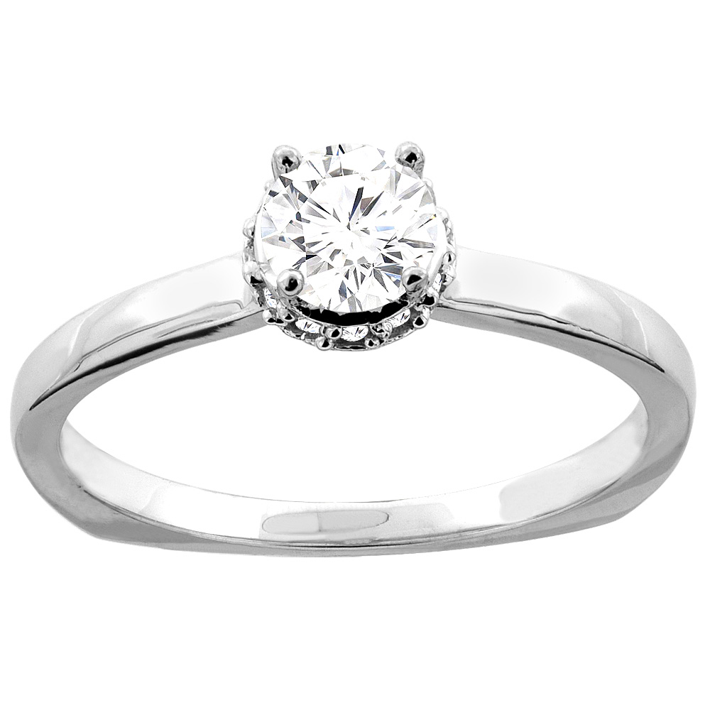 10K Gold Floral Halo 0.30 cttw Round Diamond Solitaire Engagement Ring, sizes 5 - 10