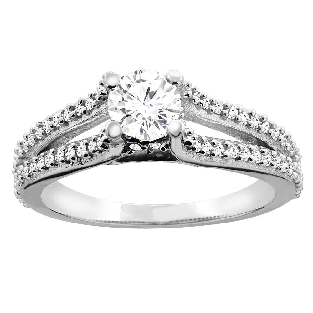 10K White Gold 0.78 cttw Round Diamond Split Shank Engagement Ring, sizes 5 - 10
