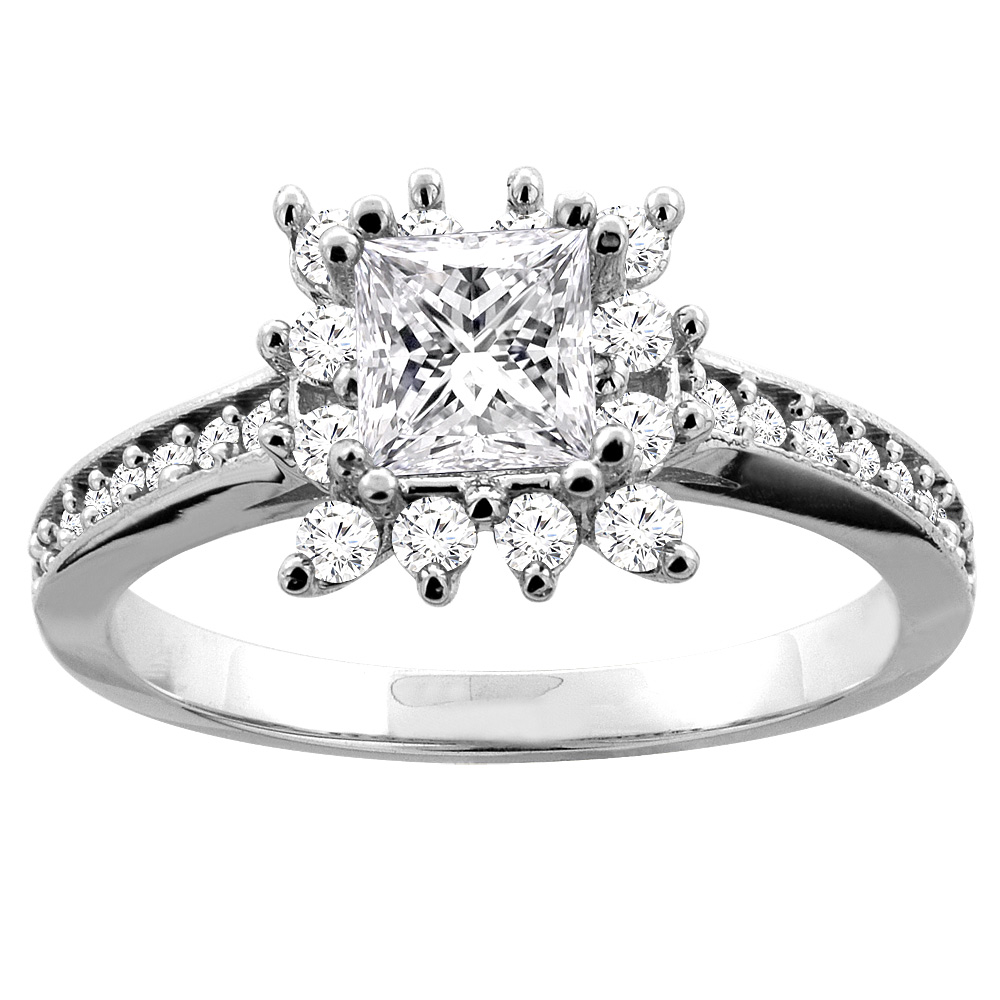 10K White Gold 1.03 ct Princess cut Floral Halo Diamond Engagement Ring, sizes 5 - 10