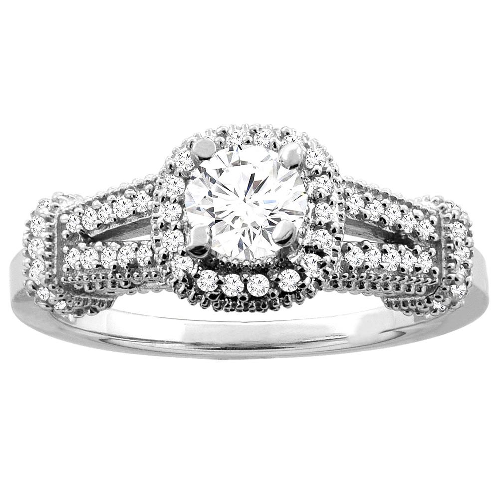 10K White Gold 0.70 cttw Diamond Halo Engagement Ring, sizes 5 - 10