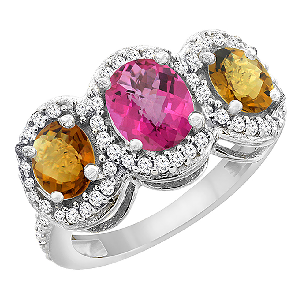 14K White Gold Natural Pink Sapphire & Whisky Quartz 3-Stone Ring Oval Diamond Accent, sizes 5 - 10