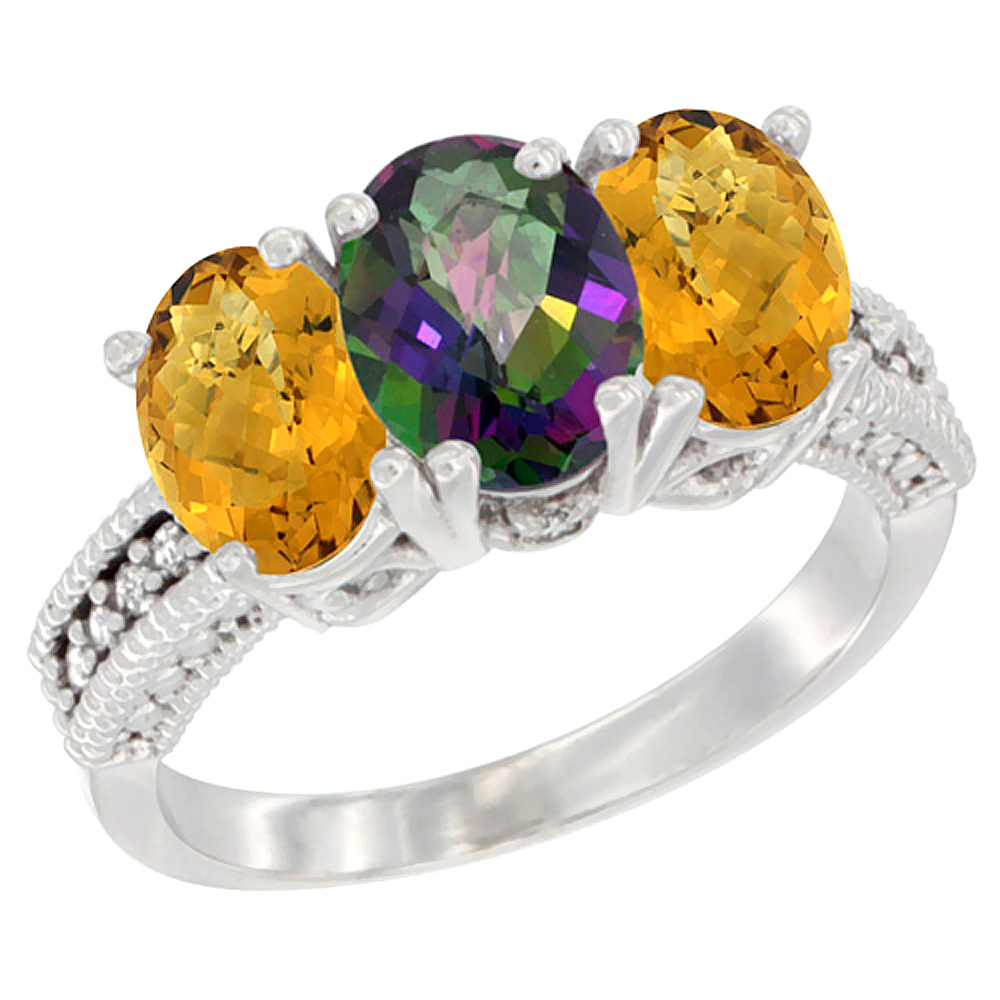 10K White Gold Diamond Natural Mystic Topaz & Whisky Quartz Ring 3-Stone 7x5 mm Oval, sizes 5 - 10