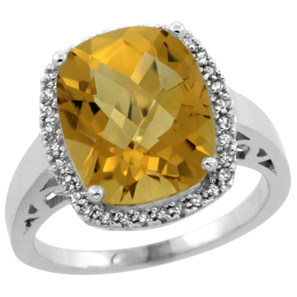 14K White Gold Diamond Natural Whisky Quartz Ring Cushion-cut 12x10mm, sizes 5-10