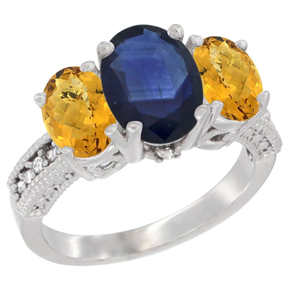 10K White Gold Diamond Natural Quality Blue Sapphire 8x6mm & 7x5mm Whisky Quartz Oval 3-stone Ring,sz5-10