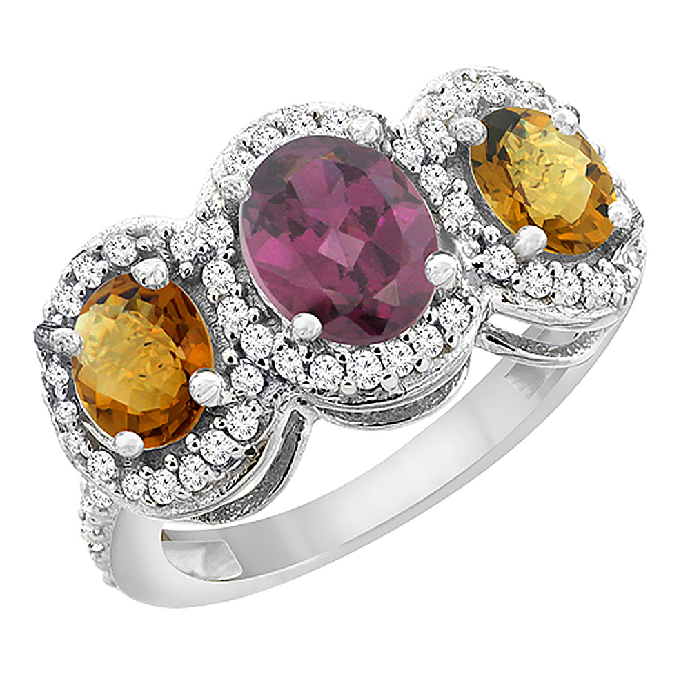14K White Gold Natural Rhodolite & Whisky Quartz 3-Stone Ring Oval Diamond Accent, sizes 5 - 10