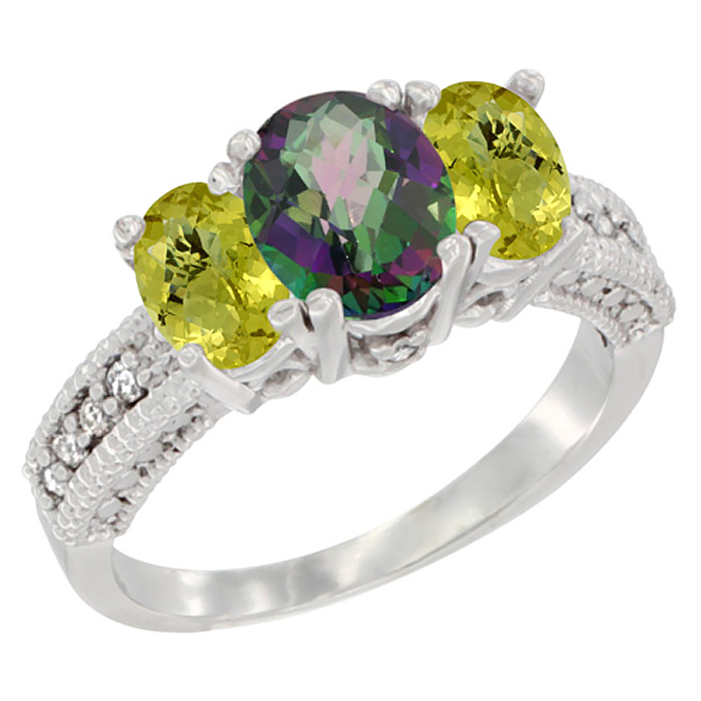 10K White Gold Diamond Natural Mystic Topaz Ring Oval 3-stone with Lemon Quartz, sizes 5 - 10