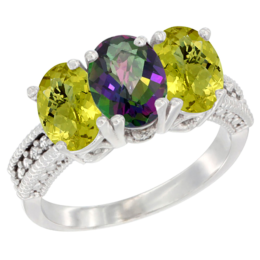 10K White Gold Diamond Natural Mystic Topaz & Lemon Quartz Ring 3-Stone 7x5 mm Oval, sizes 5 - 10