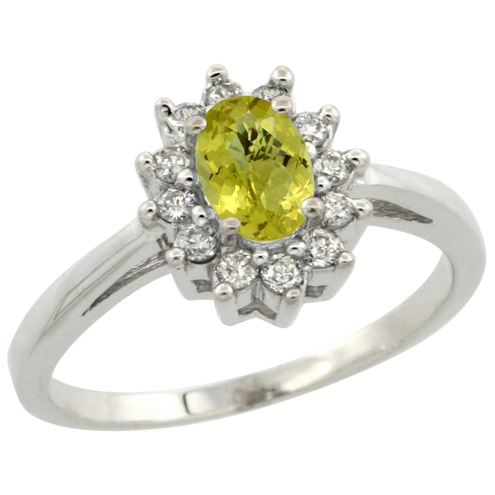 10K White Gold Natural Lemon Quartz Flower Diamond Halo Ring Oval 6x4 mm, sizes 5 10
