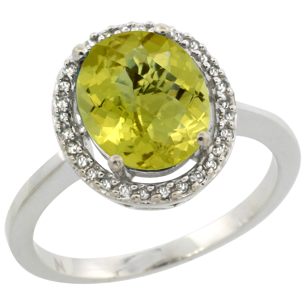 10K White Gold Diamond Halo Natural Lemon Quartz Engagement Ring Oval 10x8 mm, sizes 5 10