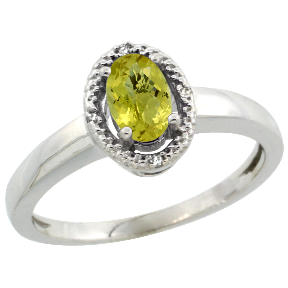 10K White Gold Diamond Halo Natural Lemon Quartz Engagement Ring Oval 6X4 mm, sizes 5-10