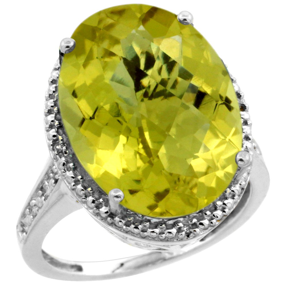 14K White Gold Diamond Natural Lemon Quartz Ring Oval 18x13mm, sizes 5-10