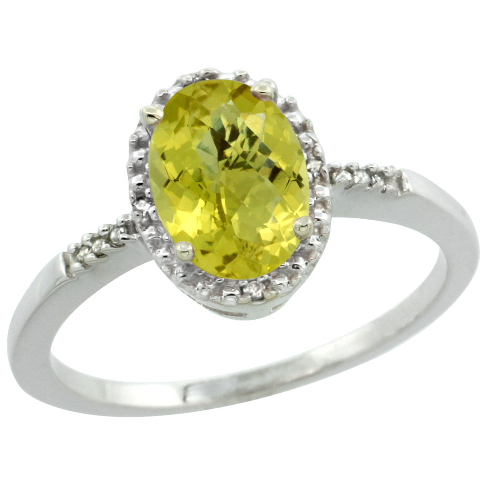 14K White Gold Diamond Natural Lemon Quartz Ring Oval 8x6mm, sizes 5-10
