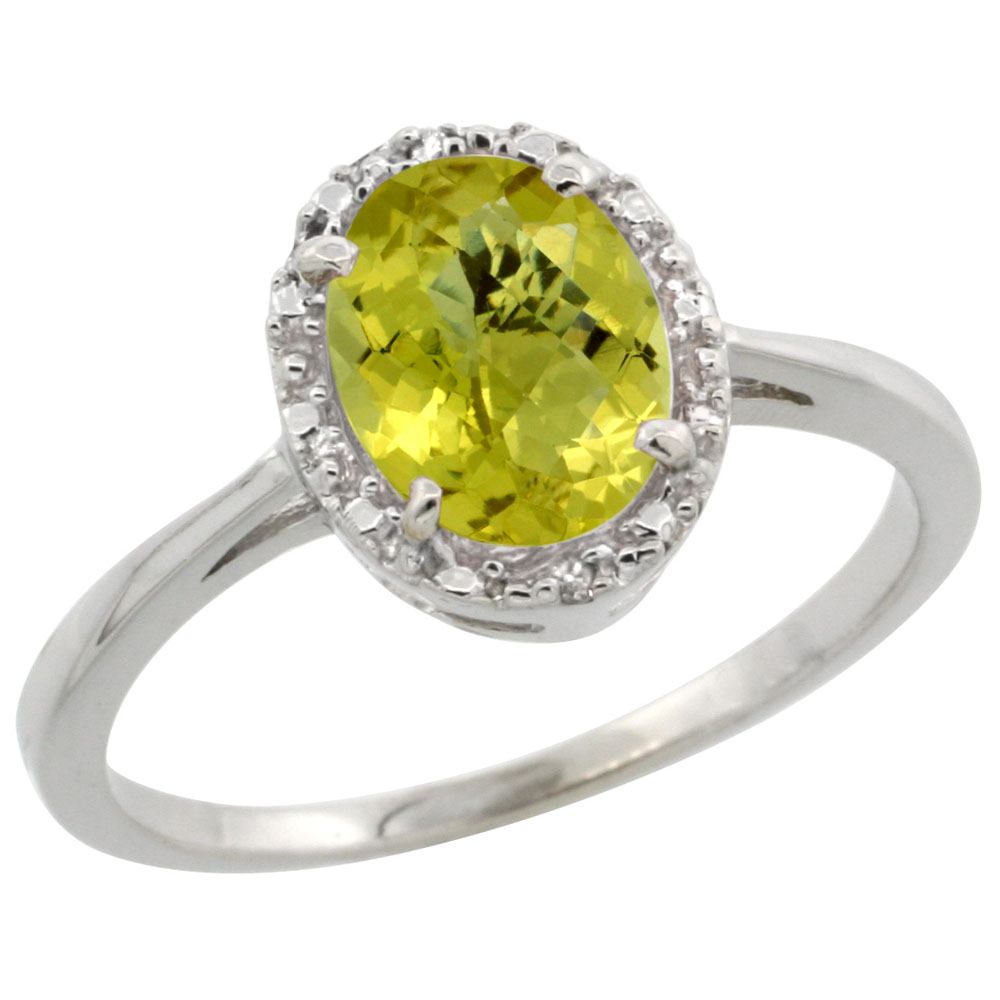 10k White Gold Natural Lemon Quartz Ring Oval 8x6 mm Diamond Halo, sizes 5-10