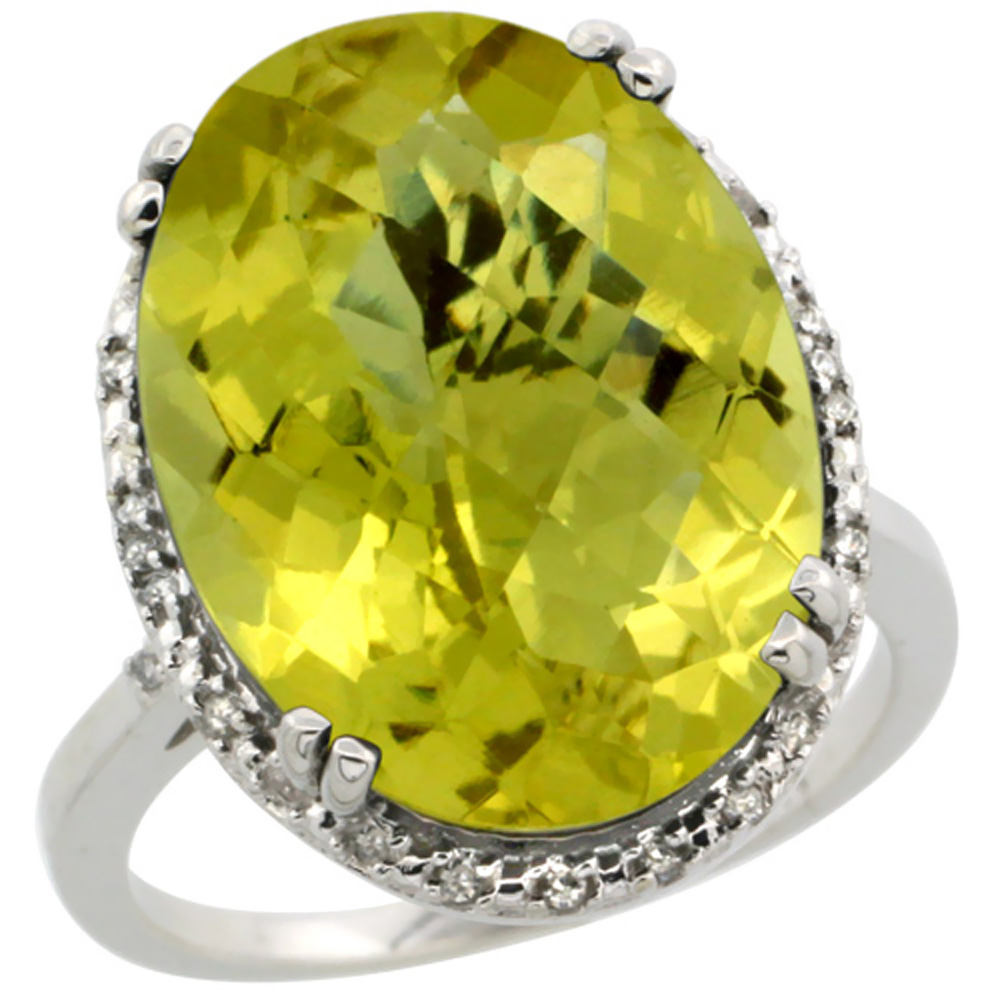 10k White Gold Natural Lemon Quartz Ring Large Oval 18x13mm Diamond Halo, sizes 5-10