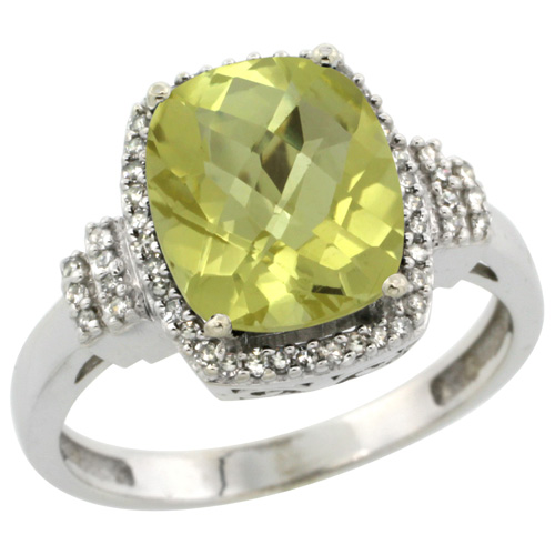 14K White Gold Natural Lemon Quartz Ring Cushion-cut 9x7mm Diamond Halo, sizes 5-10