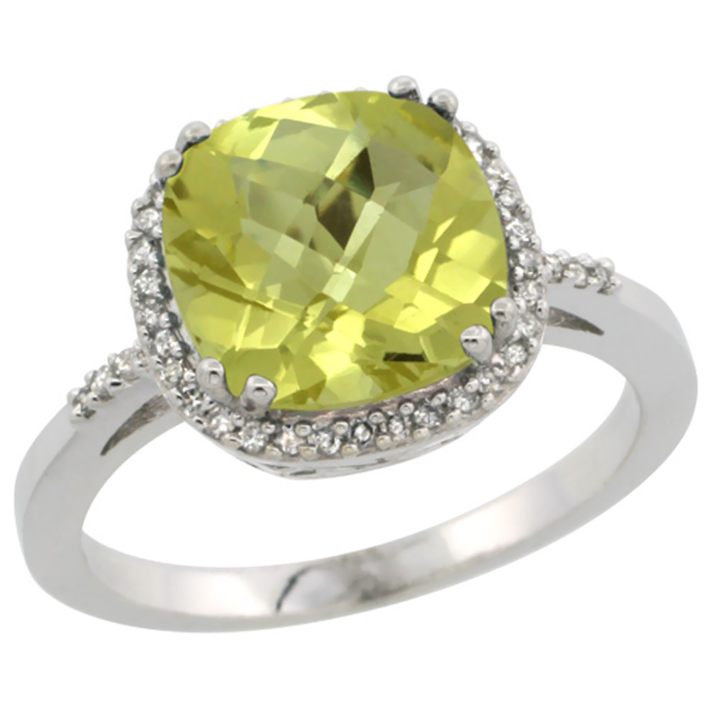 10K White Gold Diamond Natural Lemon Quartz Ring Cushion-cut 9x9mm, sizes 5-10