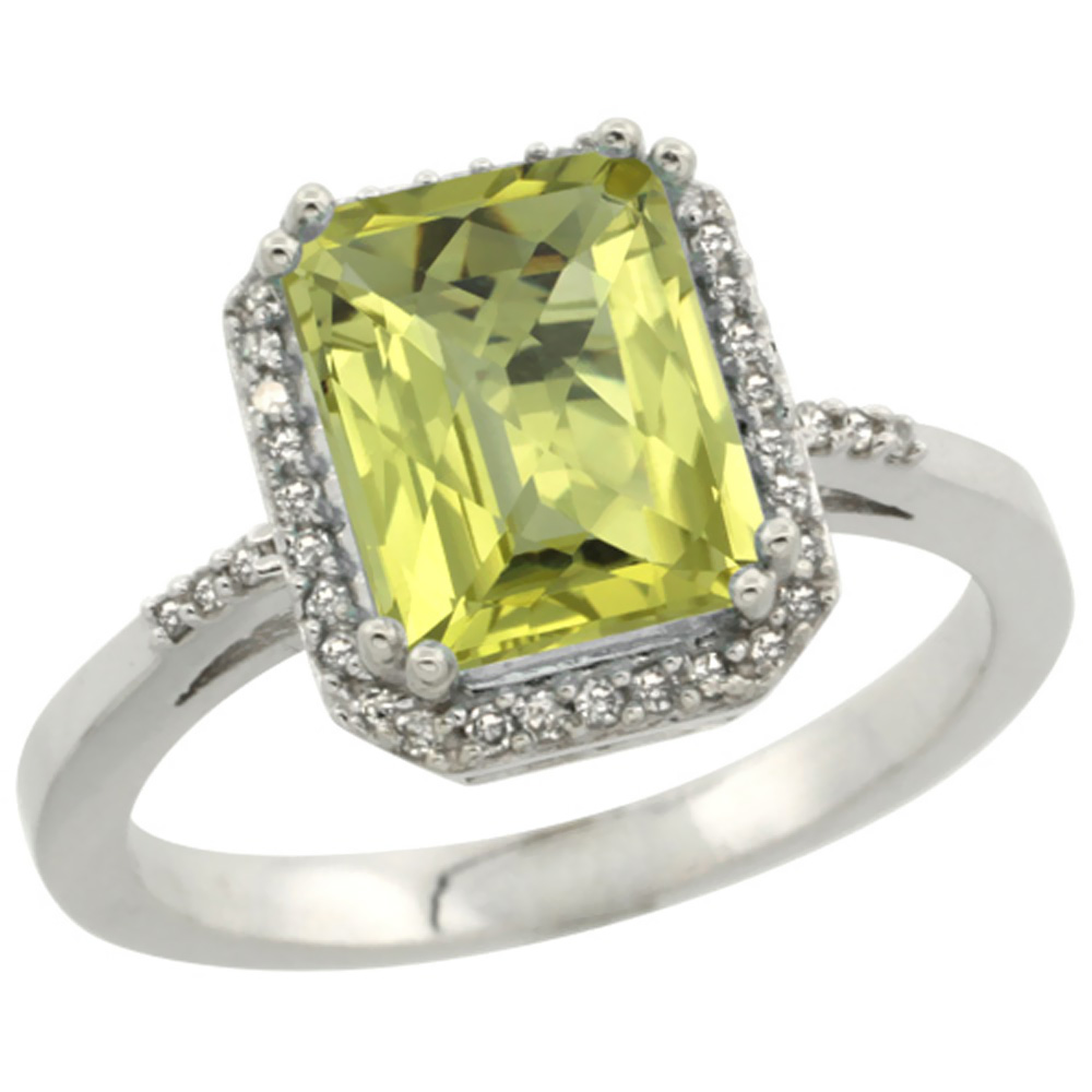 14K White Gold Diamond Natural Lemon Quartz Ring Emerald-cut 9x7mm, sizes 5-10
