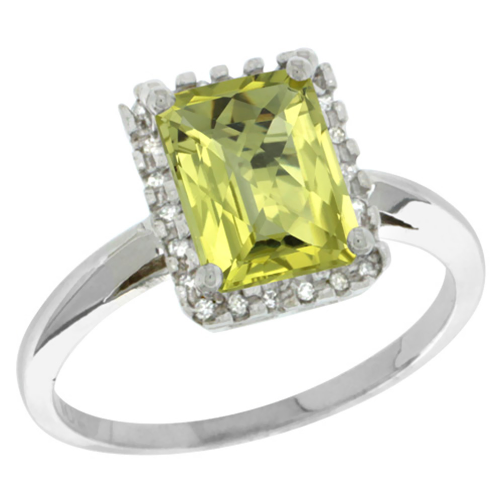 14K White Gold Diamond Natural Lemon Quartz Ring Emerald-cut 8x6mm, sizes 5-10
