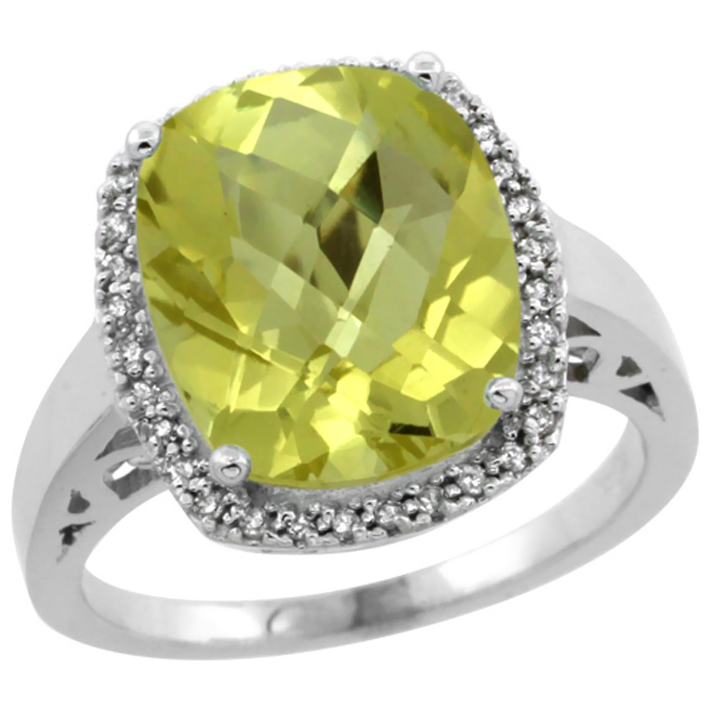 14K White Gold Diamond Natural Lemon Quartz Ring Cushion-cut 12x10mm, size 5-10