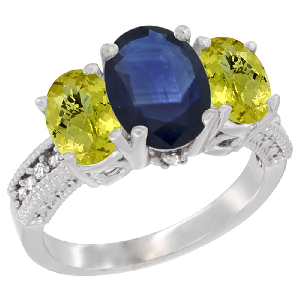 10K White Gold Diamond Natural Quality Blue Sapphire 8x6mm & 7x5mm Lemon Quartz Oval 3-stone Ring, sz5-10