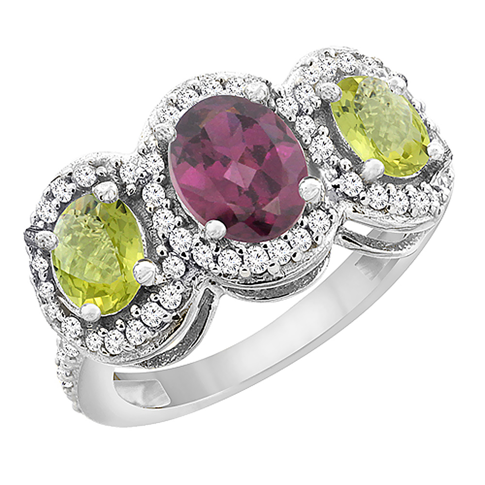 14K White Gold Natural Rhodolite & Lemon Quartz 3-Stone Ring Oval Diamond Accent, sizes 5 - 10