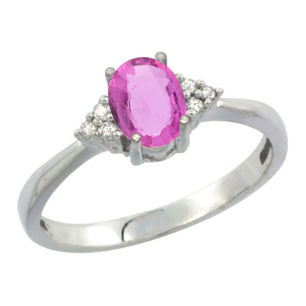 10K White Gold Diamond Natural Pink Sapphire Engagement Ring Oval 7x5mm, sizes 5-10