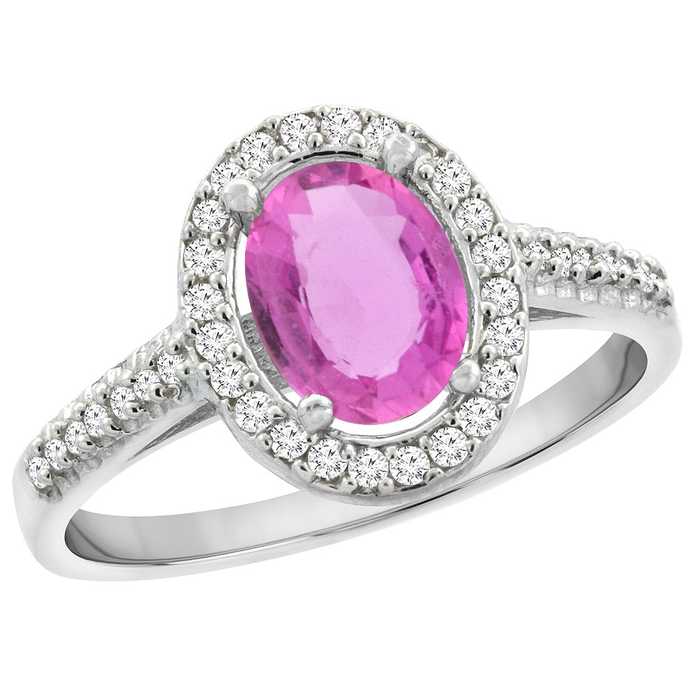 14K White Gold Natural Pink Sapphire Engagement Ring Oval 7x5 mm Diamond Halo, sizes 5 - 10