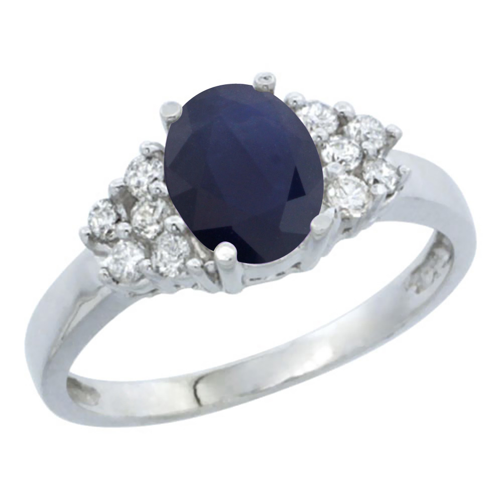 14K White Gold Natural Australian Sapphire Ring Oval 8x6mm Diamond Accent, sizes 5-10