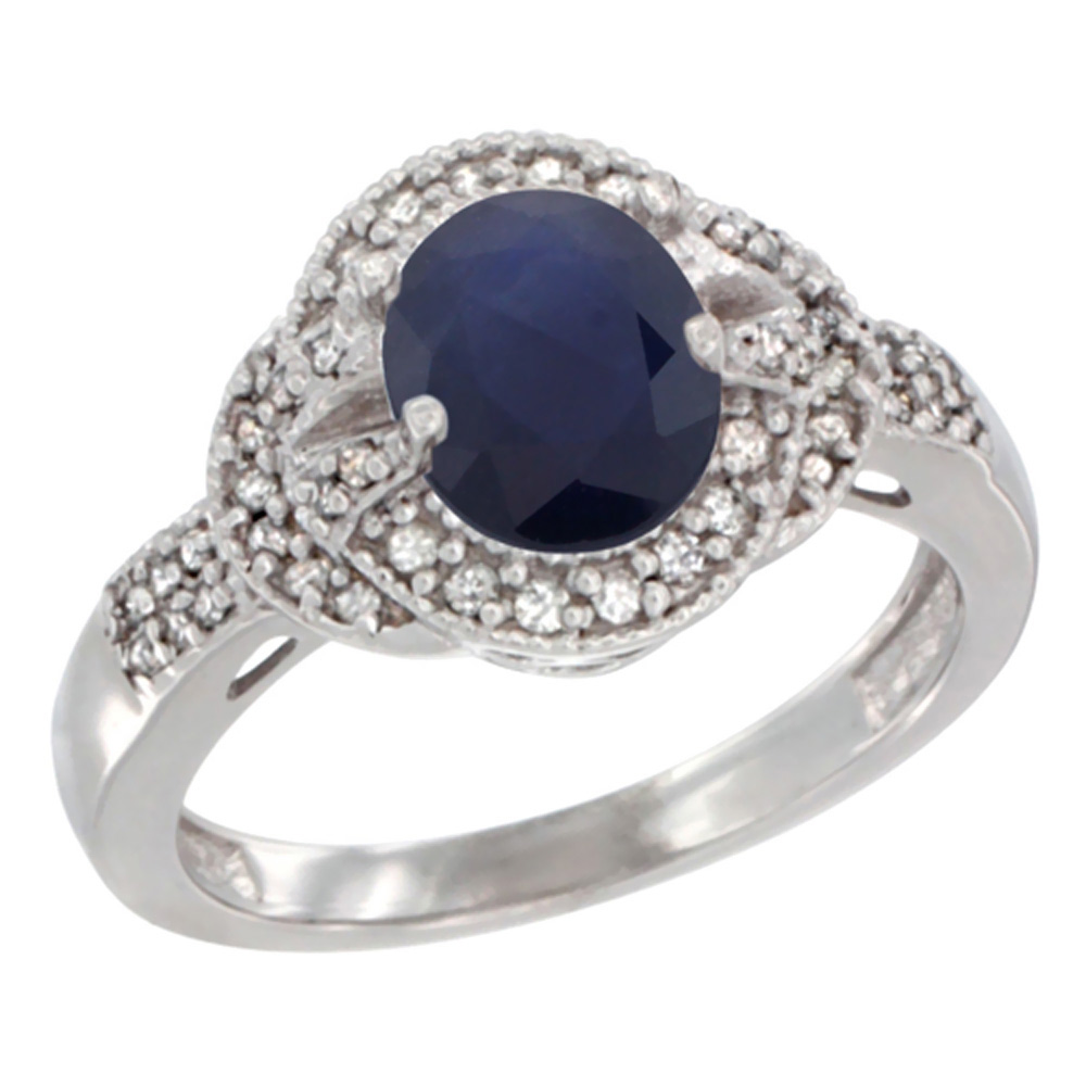 14K White Gold Natural Australian Sapphire Ring Oval 8x6 mm Diamond Accent, sizes 5 - 10