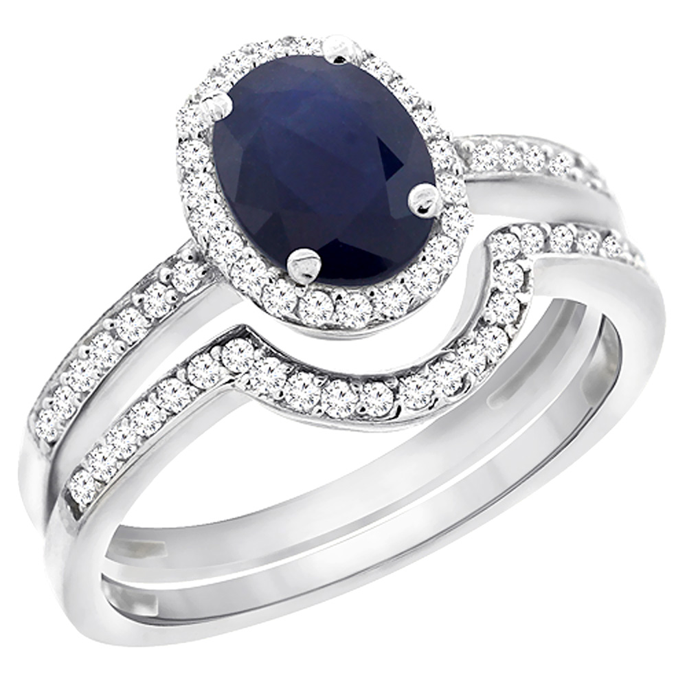 14K White Gold Diamond Natural Australian Sapphire 2-Pc. Engagement Ring Set Oval 8x6 mm, sizes 5 - 10