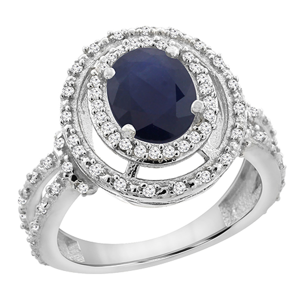 14K White Gold Natural Australian Sapphire Ring Oval 8x6 mm Double Halo Diamond, sizes 5 - 10