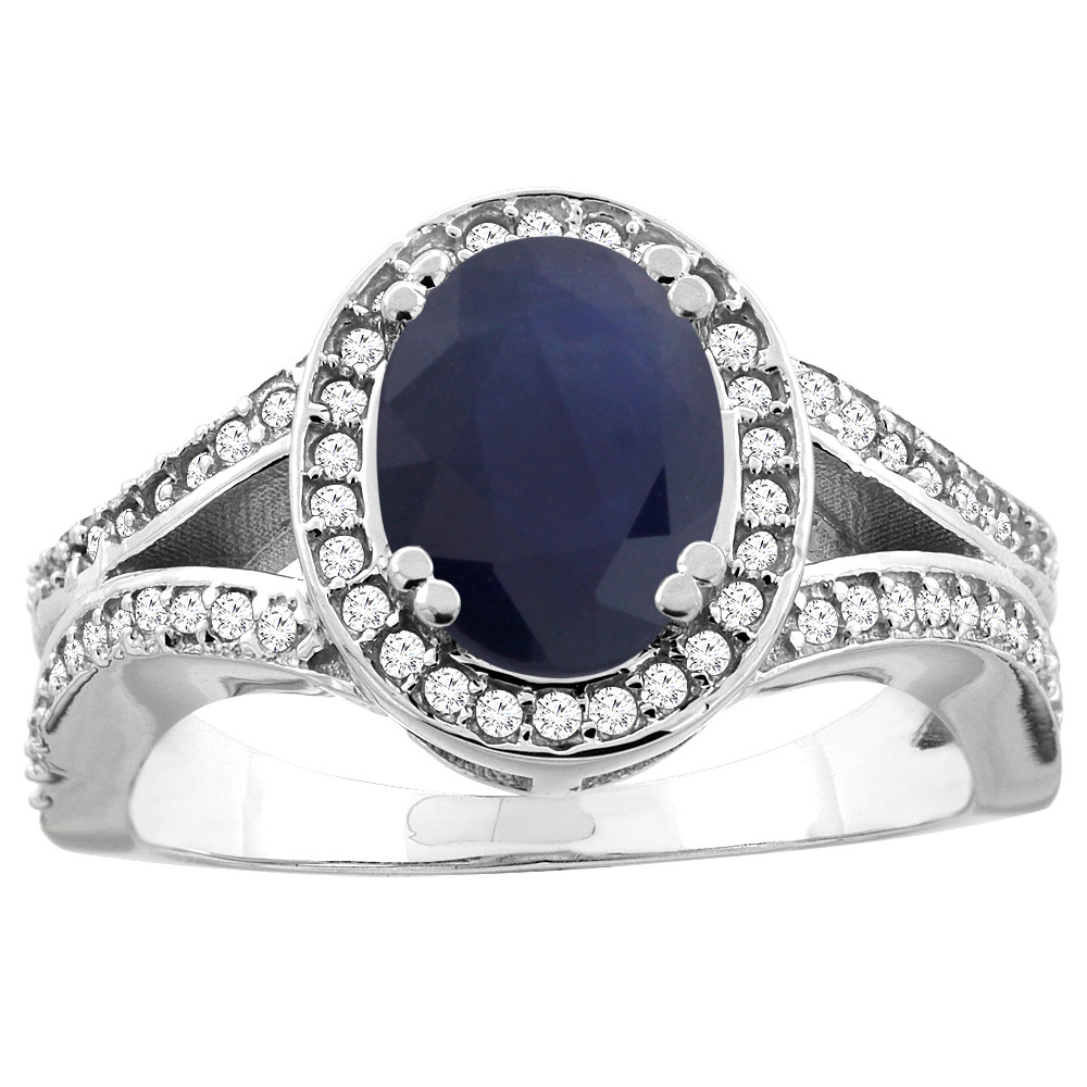 14k Gold Diamond Halo Genuine Australian Sapphire Ring Split Shank Oval 8x6mm, size 5-10