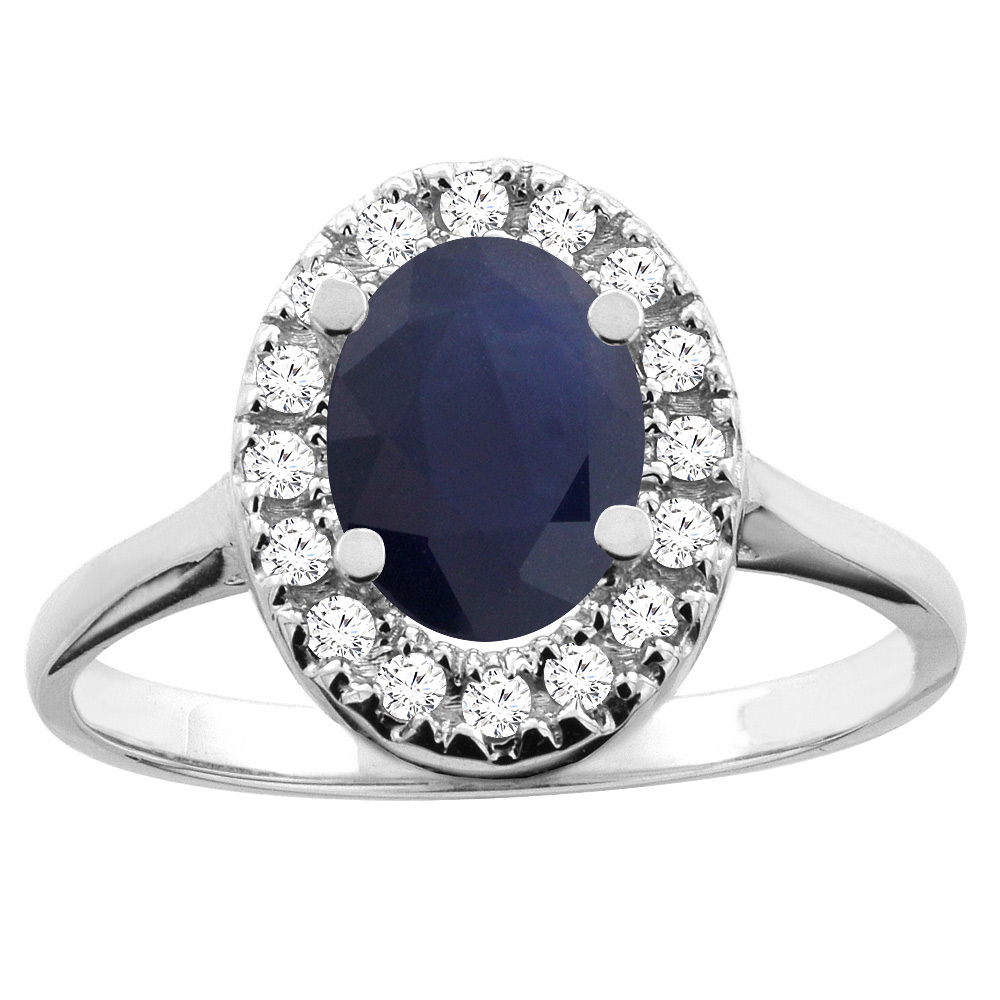 14K White/Yellow Gold Natural Australian Sapphire Ring Oval 8x6mm Diamond Accent, sizes 5 - 10