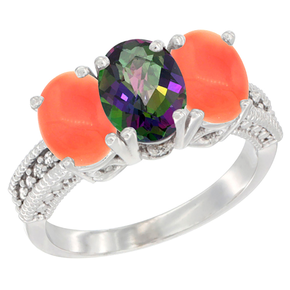 10K White Gold Diamond Natural Mystic Topaz & Coral Ring 3-Stone 7x5 mm Oval, sizes 5 - 10