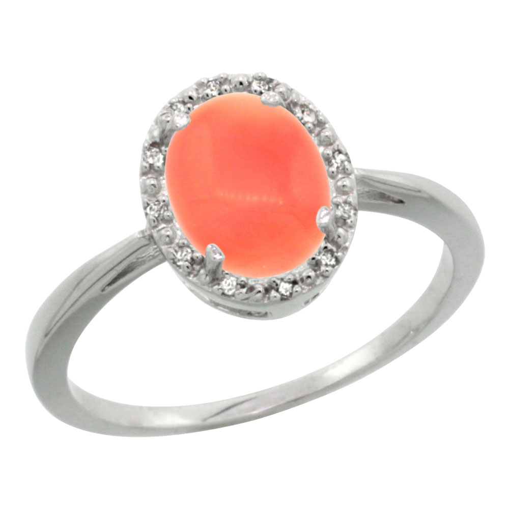 10K White Gold Natural Coral Diamond Halo Ring Oval 8X6mm, sizes 5 10