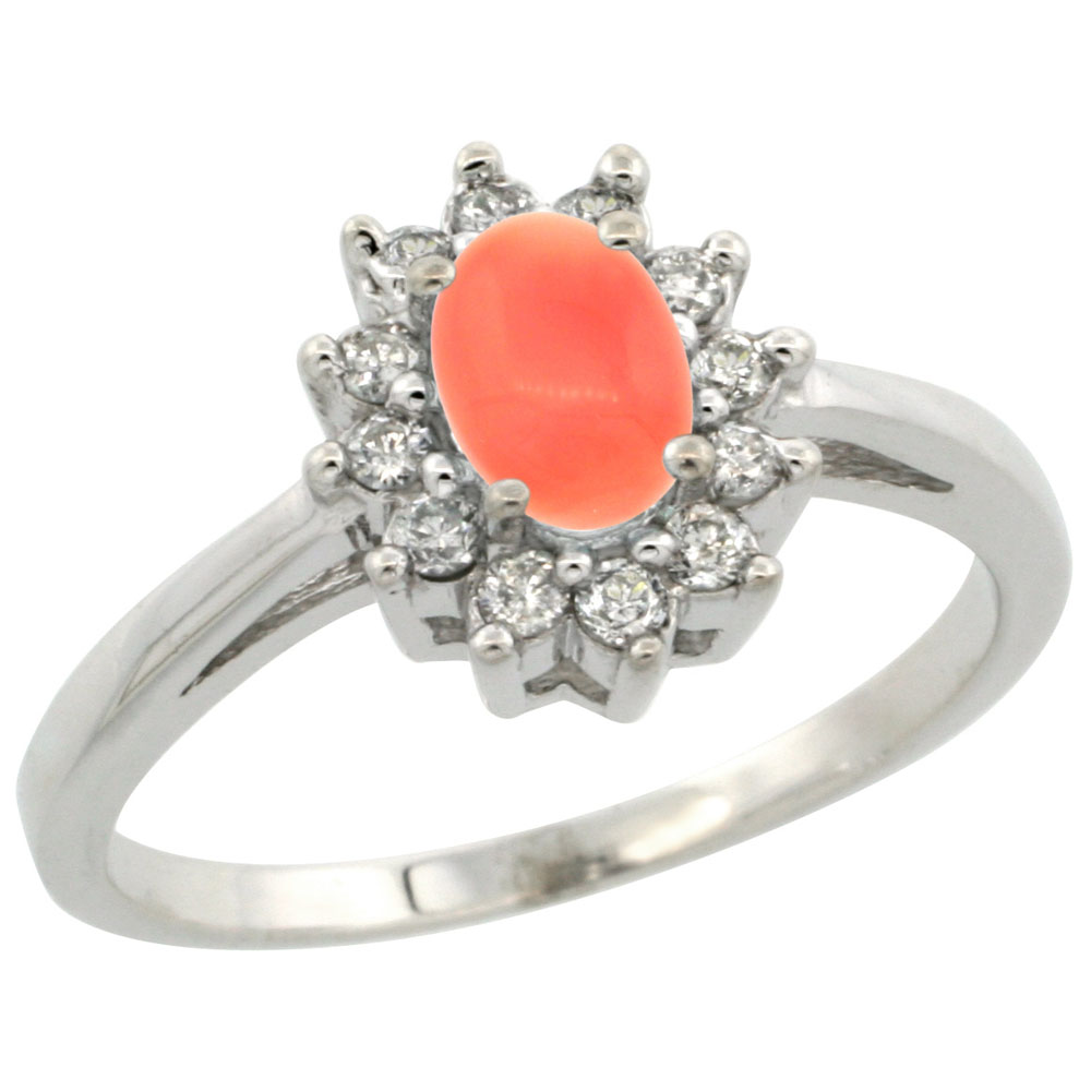 10K White Gold Natural Coral Flower Diamond Halo Ring Oval 6x4 mm, sizes 5 10