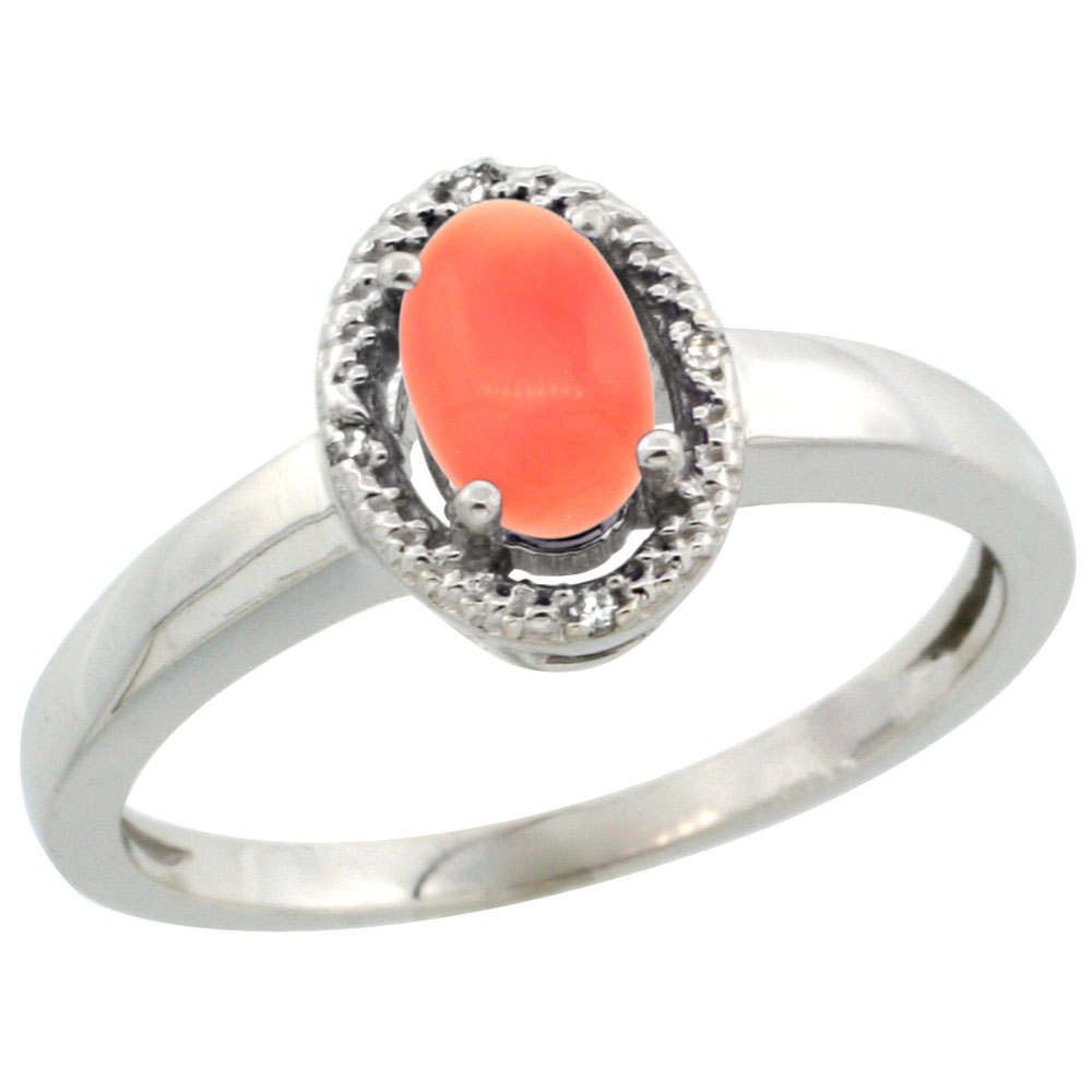 10K White Gold Diamond Halo Natural Coral Engagement Ring Oval 6X4 mm, sizes 5-10