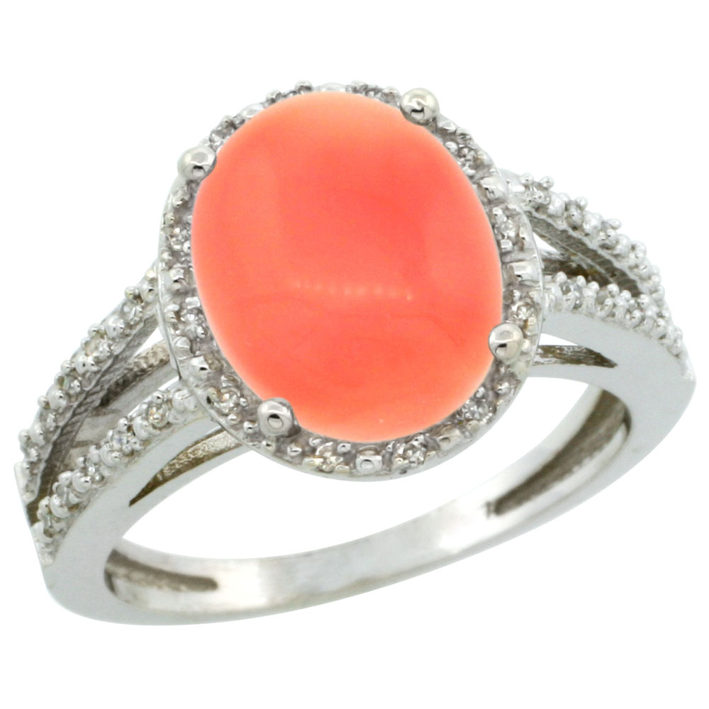 14K White Gold Natural Coral Diamond Halo Ring Oval 11x9mm, sizes 5-10