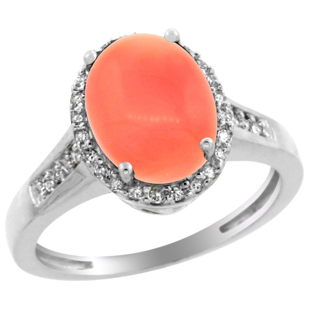 10K White Gold Diamond Natural Coral Engagement Ring Oval 10x8mm, sizes 5-10