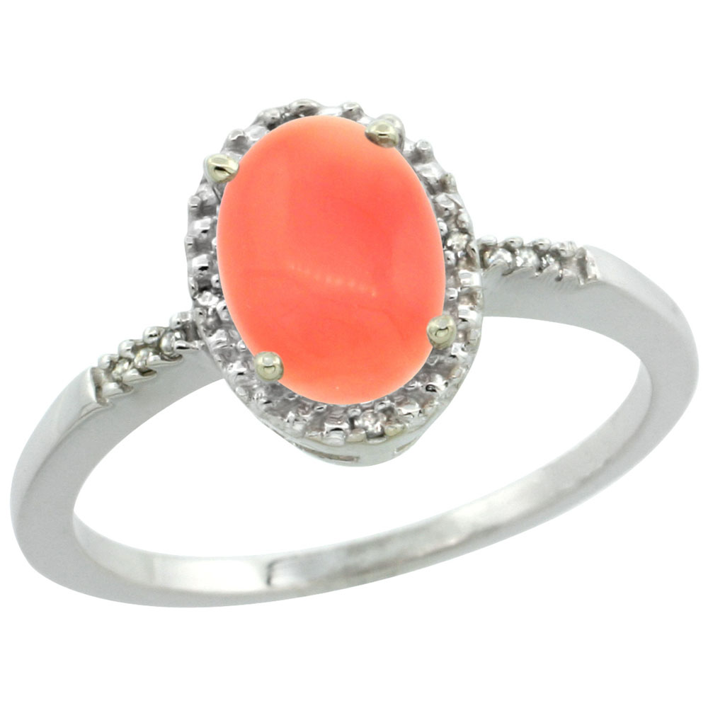 10K White Gold Diamond Natural Coral Ring Oval 8x6mm, sizes 5-10