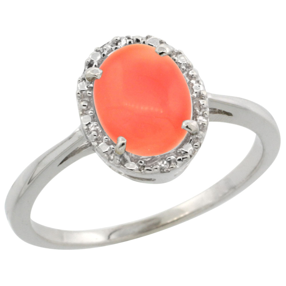 14K White Gold Natural Coral Ring Oval 8x6 mm Diamond Halo, sizes 5-10