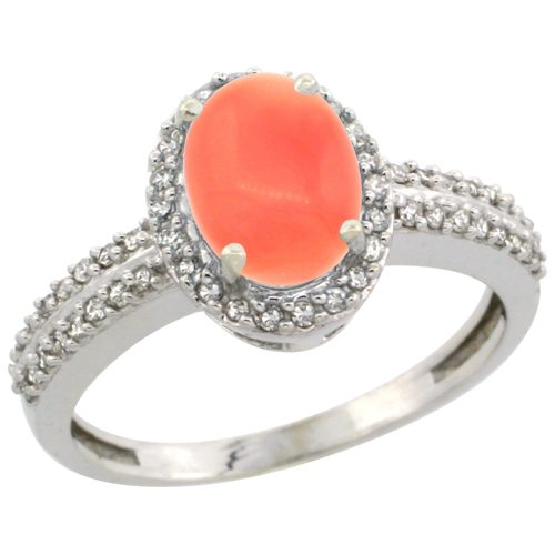 10k White Gold Natural Coral Ring Oval 8x6mm Diamond Halo, sizes 5-10