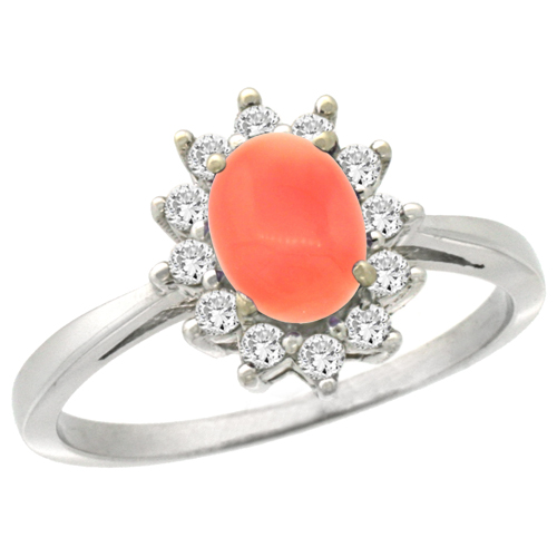 14K White Gold Natural Coral Engagement Ring Oval 7x5mm Diamond Halo, sizes 5-10