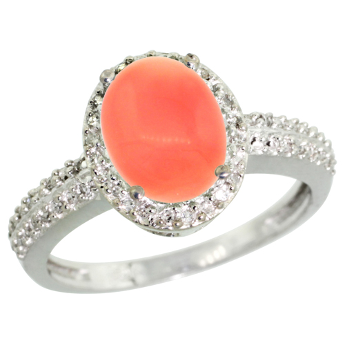 10K White Gold Diamond Natural Coral Ring Oval 9x7mm, sizes 5-10