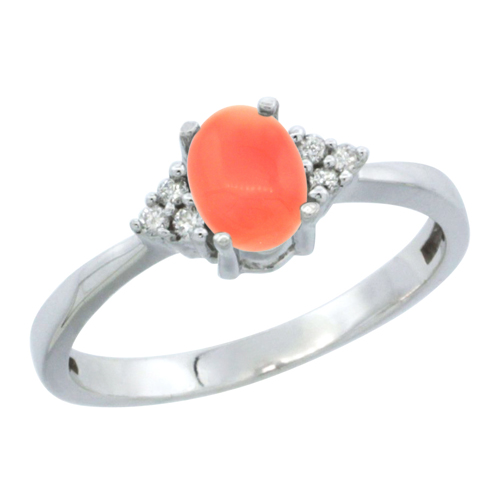 10K White Gold Natural Coral Ring Oval 6x4mm Diamond Accent, sizes 5-10