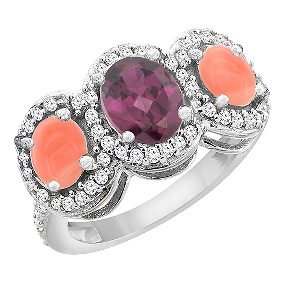 14K White Gold Natural Rhodolite & Coral 3-Stone Ring Oval Diamond Accent, sizes 5 - 10