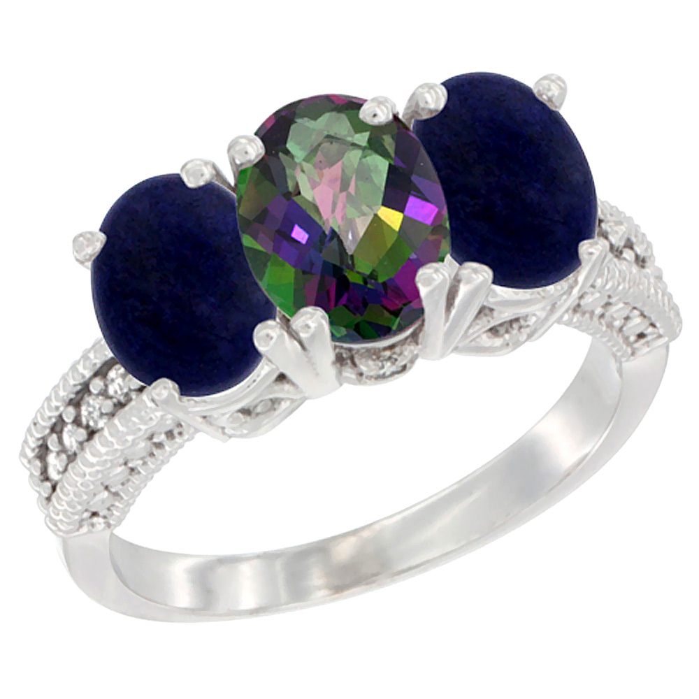 10K White Gold Diamond Natural Mystic Topaz & Lapis Ring 3-Stone 7x5 mm Oval, sizes 5 - 10