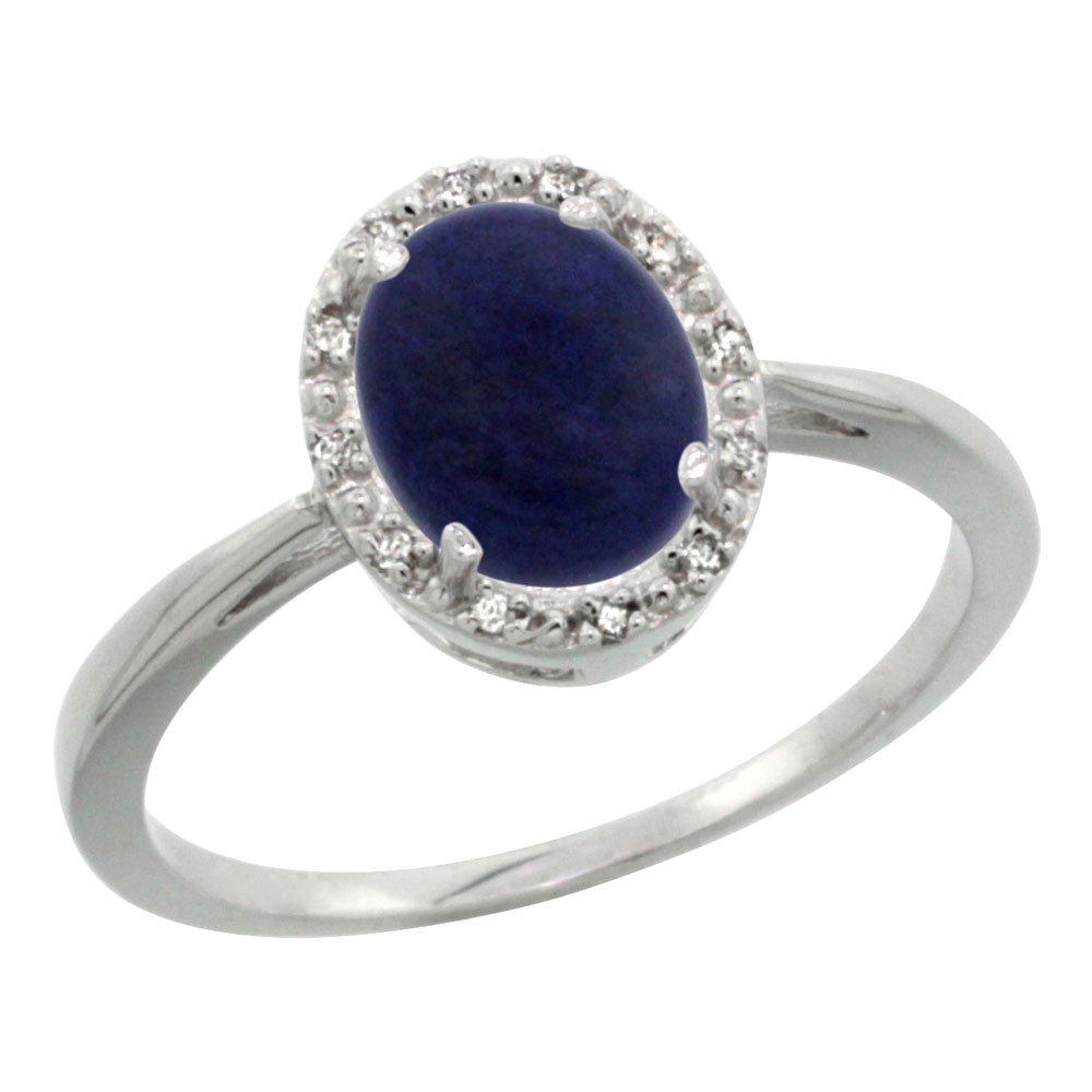 10K White Gold Natural Lapis Diamond Halo Ring Oval 8X6mm, sizes 5 10
