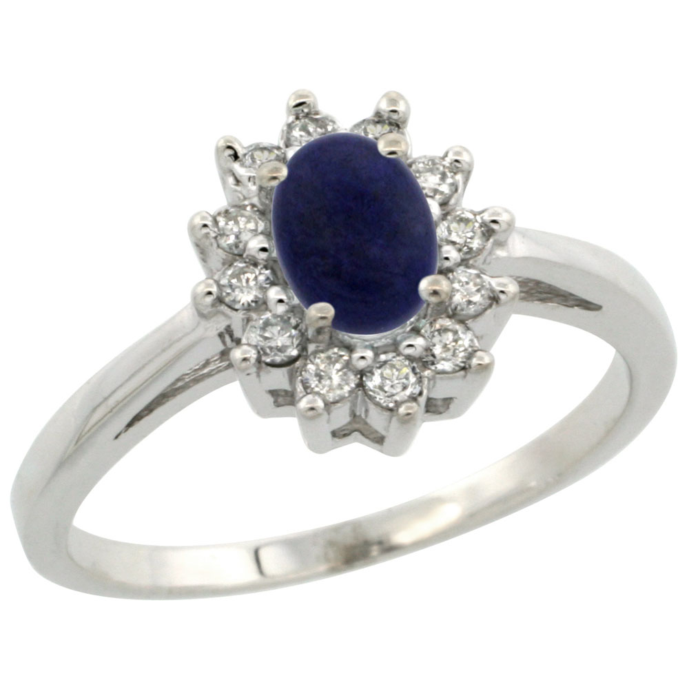 10K White Gold Natural Lapis Flower Diamond Halo Ring Oval 6x4 mm, sizes 5 10